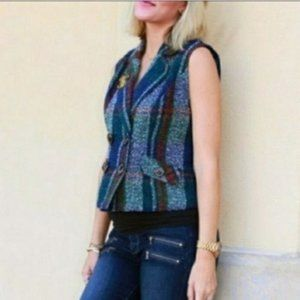 Cabi Plaid Tweed Double Breasted Vest